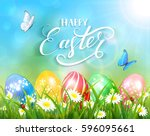 easter theme with a butterfly...   Shutterstock .eps vector #596095661