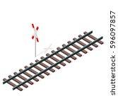 vector railway in isometric 3d... | Shutterstock .eps vector #596097857