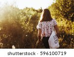 stylish hipster woman with eco... | Shutterstock . vector #596100719