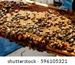 bees on honey frame | Shutterstock . vector #596105321