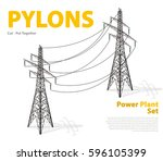 vector high voltage pylon... | Shutterstock .eps vector #596105399