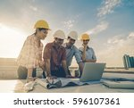 happy professional construction ... | Shutterstock . vector #596107361