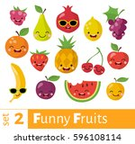 Fruits Icons Set In Flat Style...