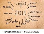 new year resolution 2018goals... | Shutterstock . vector #596110037