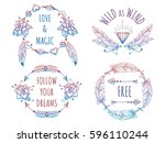 colorful bohemian banners with... | Shutterstock .eps vector #596110244