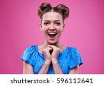 close up of extremely surprised ... | Shutterstock . vector #596112641