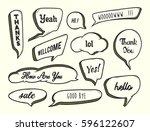 set of hand drawn speech bubble ... | Shutterstock .eps vector #596122607