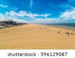 scheveningen beach in hague in... | Shutterstock . vector #596129087