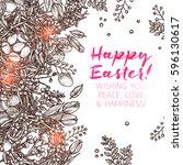happy easter sketch background... | Shutterstock .eps vector #596130617