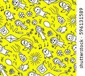 seamless pattern of hand drawn... | Shutterstock .eps vector #596131589