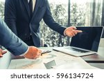business man meeting  business... | Shutterstock . vector #596134724