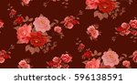 seamless floral pattern in... | Shutterstock .eps vector #596138591
