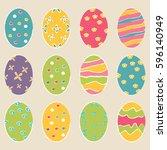 easter eggs icons. vector...   Shutterstock .eps vector #596140949