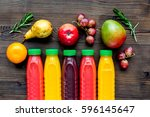 plastic bottles with fruit... | Shutterstock . vector #596145647