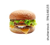 big cheeseburger isolated on... | Shutterstock . vector #596148155