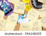 mood board. a lot of stickers... | Shutterstock . vector #596148335