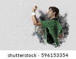 tennis player with a green... | Shutterstock . vector #596153354