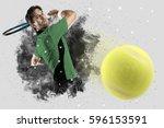 tennis player with a green... | Shutterstock . vector #596153591