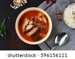 korean cuisine. spicy kimchi... | Shutterstock . vector #596156111
