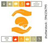 hands holding brain  ... | Shutterstock .eps vector #596156795