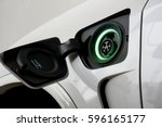 electric car charging on... | Shutterstock . vector #596165177