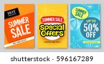 summer sale vector web banner... | Shutterstock .eps vector #596167289