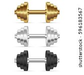 realistic dumbbells isolated on ... | Shutterstock .eps vector #596183567