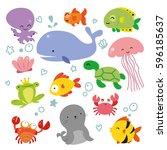 ocean wildlife character design | Shutterstock .eps vector #596185637