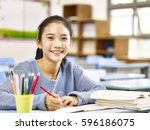 happy asian elementary school... | Shutterstock . vector #596186075