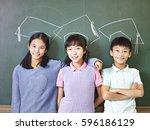three asian elementary school... | Shutterstock . vector #596186129