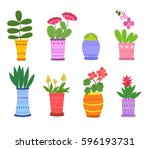 cartoon flower in pots vector... | Shutterstock .eps vector #596193731