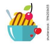 vector love sweet dessert. flat ... | Shutterstock .eps vector #596203655