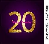 20 th anniversary. happy... | Shutterstock .eps vector #596205881