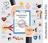 life health insurance policy... | Shutterstock .eps vector #596206721