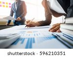 team work process. young... | Shutterstock . vector #596210351