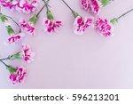 carnation on pink background | Shutterstock . vector #596213201