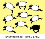 Nine Frolicking Sheep - stock vector