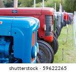 Постер, плакат: Old antique tractors in