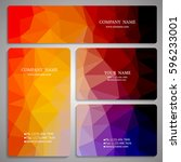set of multicolored polygon... | Shutterstock .eps vector #596233001