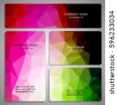 set of multicolored polygon... | Shutterstock .eps vector #596233034