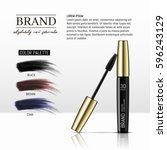 luxury mascara ads  black and... | Shutterstock .eps vector #596243129