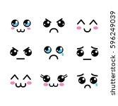 kawaii faces eyes icon | Shutterstock .eps vector #596249039