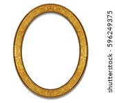 oval frame gold color with... | Shutterstock .eps vector #596249375