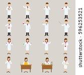 set of scientist character... | Shutterstock .eps vector #596253521