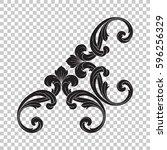 corner ornament in baroque style | Shutterstock .eps vector #596256329