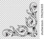 corner ornament in baroque style   Shutterstock .eps vector #596256335