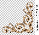 corner ornament in baroque style | Shutterstock .eps vector #596256521