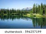 rocky mountains landscape... | Shutterstock . vector #596257199