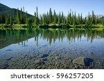 mountain lake in canada  alberta   Shutterstock . vector #596257205