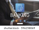 man working on network graphic... | Shutterstock . vector #596258069